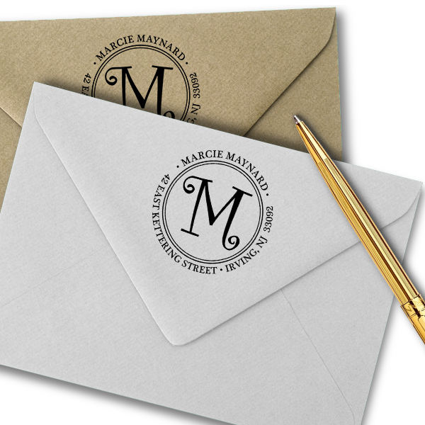 CurlyQ Script Monogram Address Stamp Imprint Example