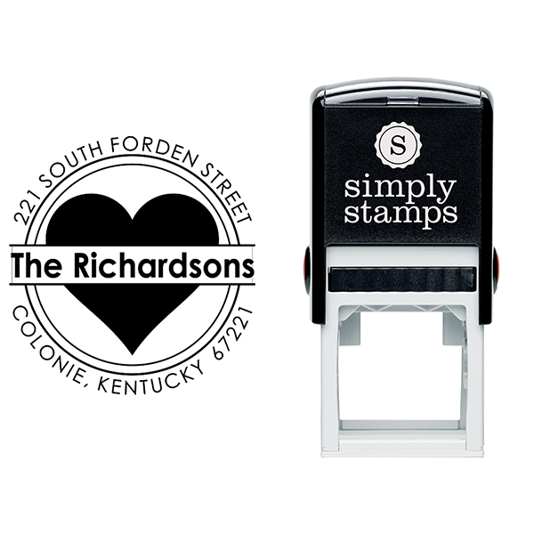 Bold Heart Double Outlined Return Address Stamp Body and Design