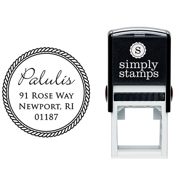 Cursive Last Name Rope Border Address Stamp Body and Design