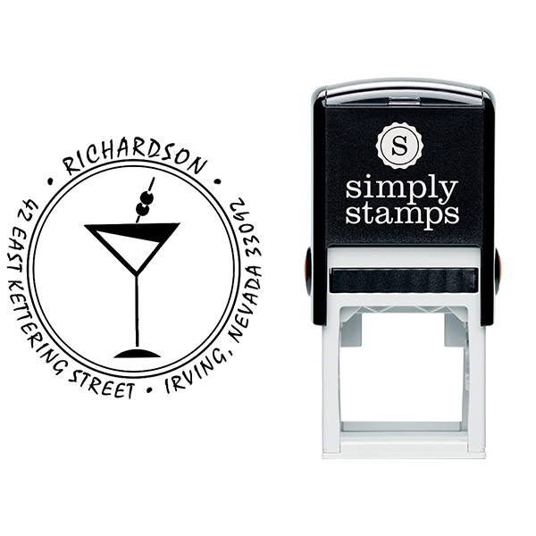 Martini Glass Round Return Address Stamp Body and Design