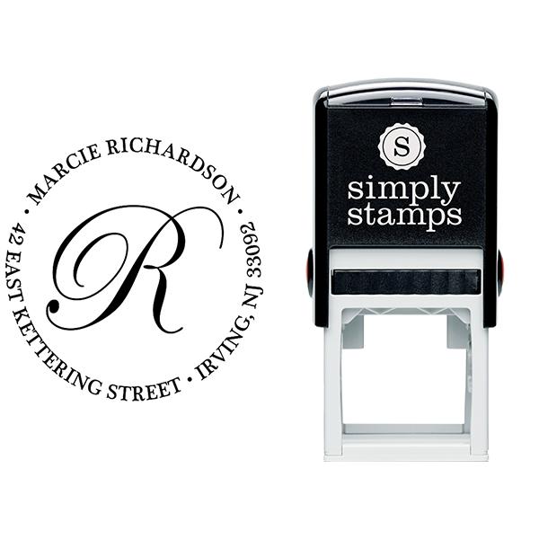 Calligraphy Monogram Return Address Stamp Body and Design