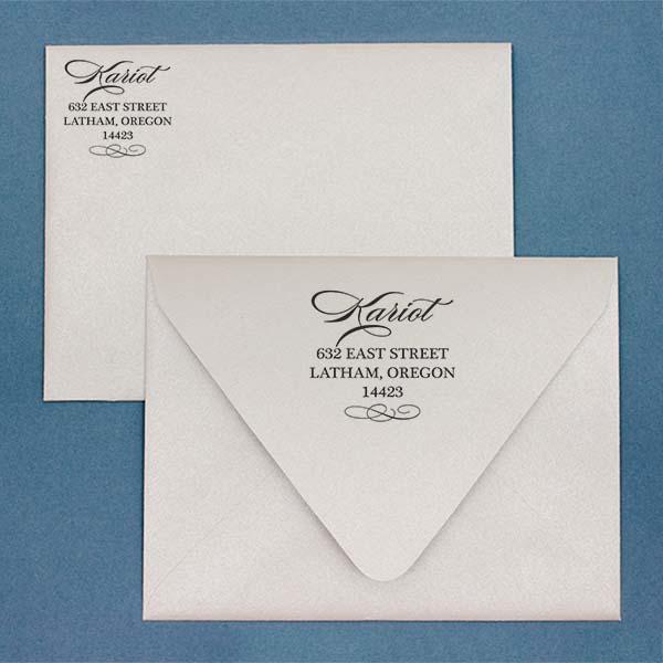 Cursive Deco Bow Return Address Stamp Imprint Example