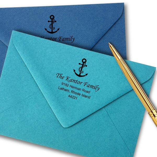 Nautical Rope & Anchor Return Address Stamp Imprint Example