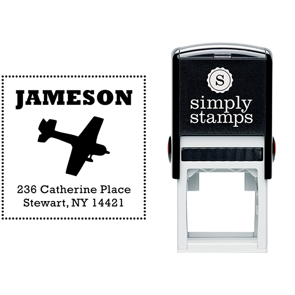 Cesna Plane Bead Border Return Address Stamp Body and Design