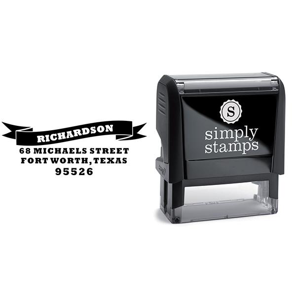 Bold Name Banner Return Address Stamp Body and Design