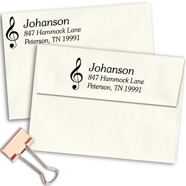 Musical Treble Clef Return Address Stamp Imprint Example