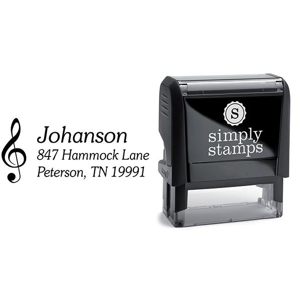 Musical Treble Clef Return Address Stamp Body and Design
