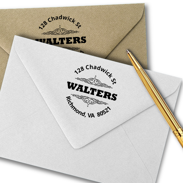 Round Bold Vintage Accent Address Stamp Imprint Example
