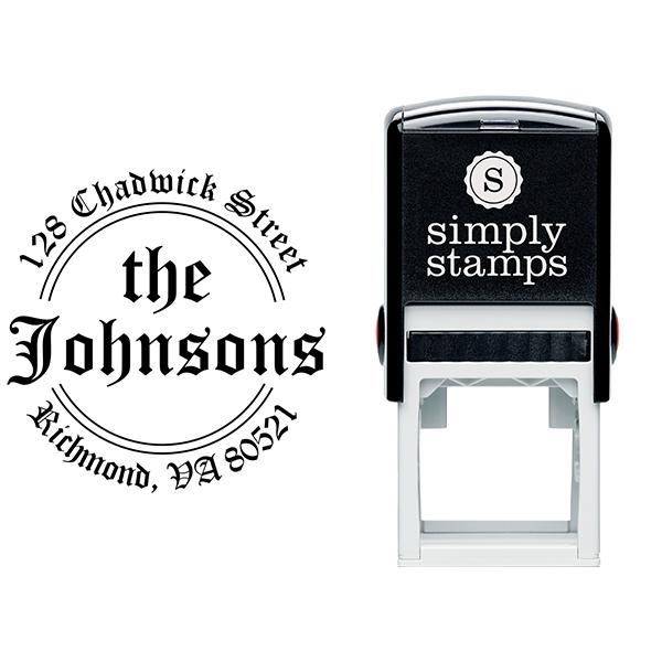 Round Double Arc Return Address Stamp Body and Design