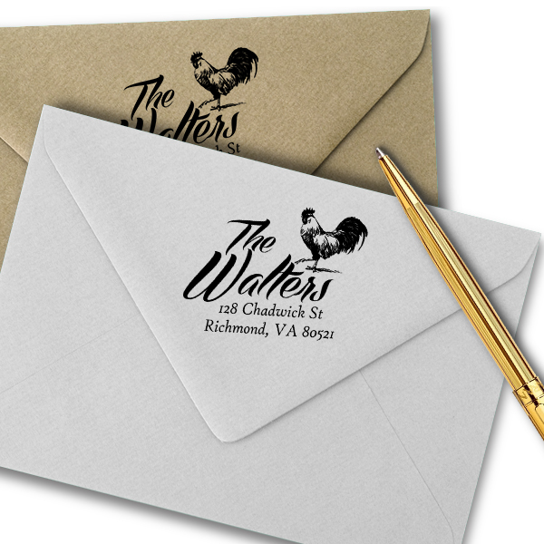 Country Rooster Farm Return Address Stamp Imprint Example