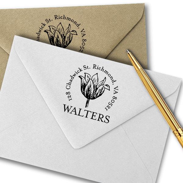 Tulip Flower Sketch Return Address Stamp Imprint Example