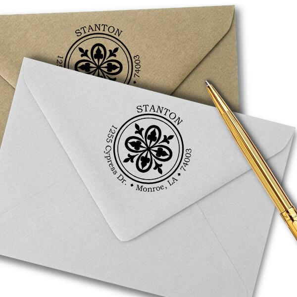 Fleur De Lis Bold Lace Frame Return Address Stamp Imprint Example