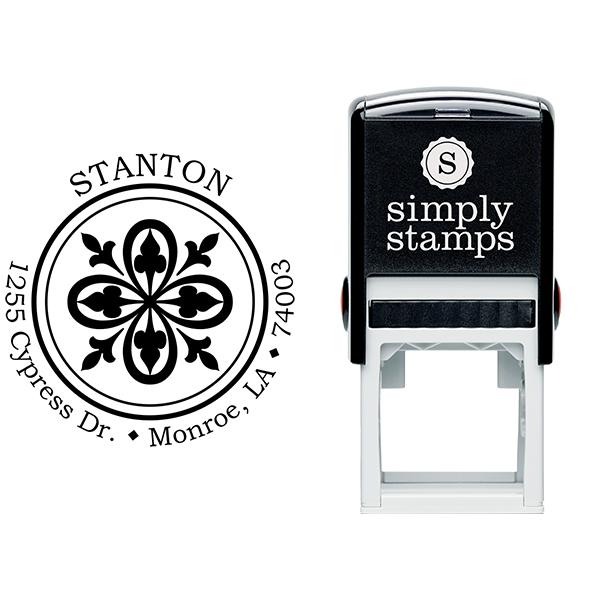 Fleur De Lis Bold Lace Frame Return Address Stamp Body and Design
