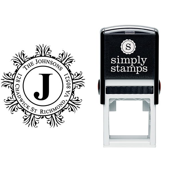Round Filigree Frame Monogram Return Address Stamp Body and Design