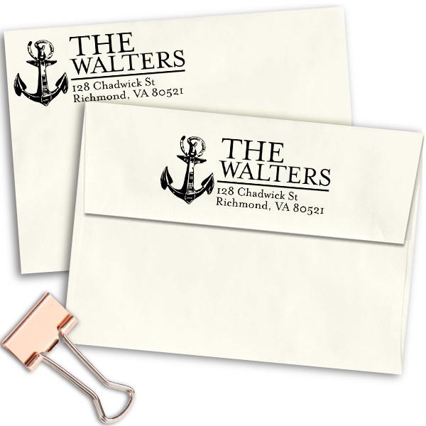 Nautical Sailor Anchor Return Address Stamp Imprint Example