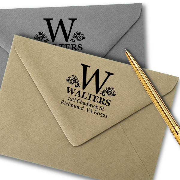 Artistic Floral Accented Bold Monogram Return Address Stamp Imprint Example