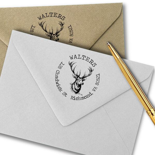 Deer Head Round Return Address Stamp Imprint Example