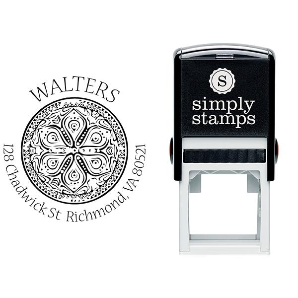 Henna Flower Round Return Address Stamp Body and Design