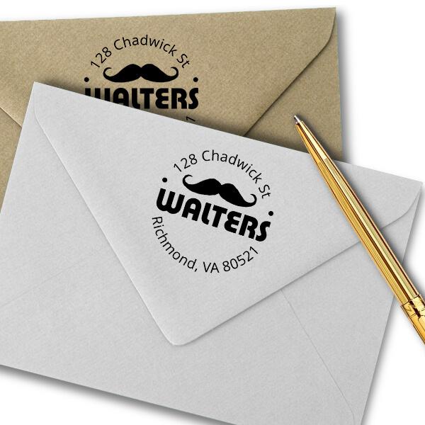 Handlebar Mustache Round Address Stamp Imprint Example