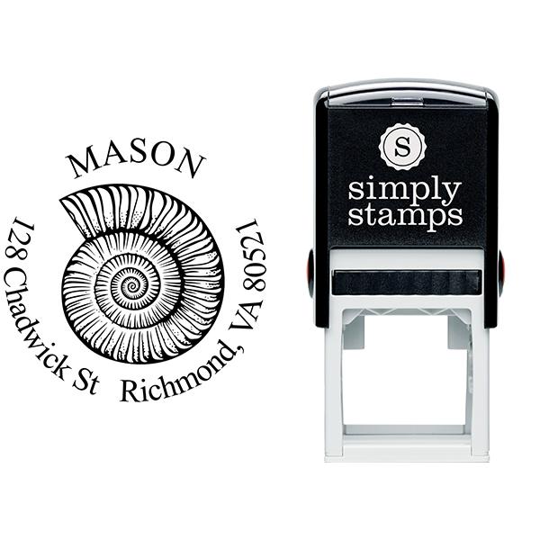 Snail Shell Round Return Address Stamp Body and Design