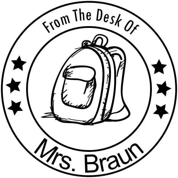 From The Desk Of - Backpack Stars Rubber Teacher Stamp