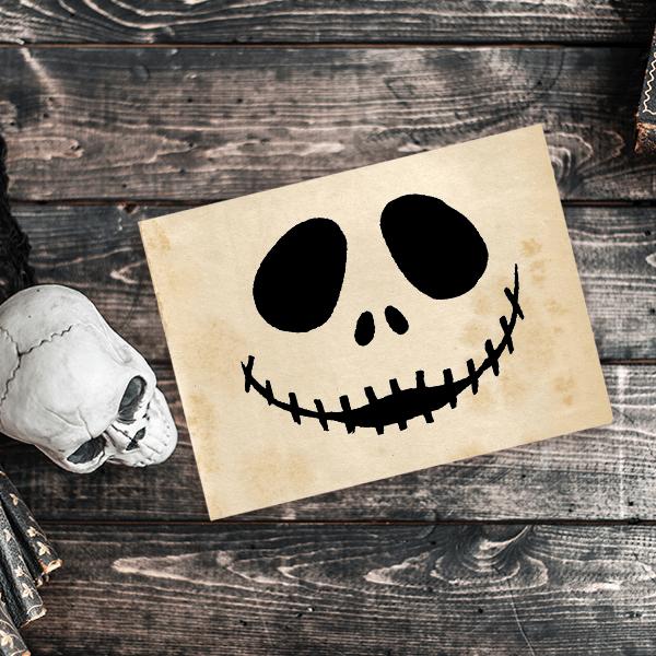 Skeletal Jack Halloween Rubber Stamp Imprint Example