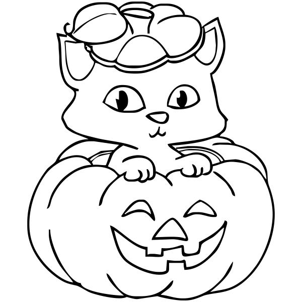Kitten Pumpkin Halloween Rubber Stamp