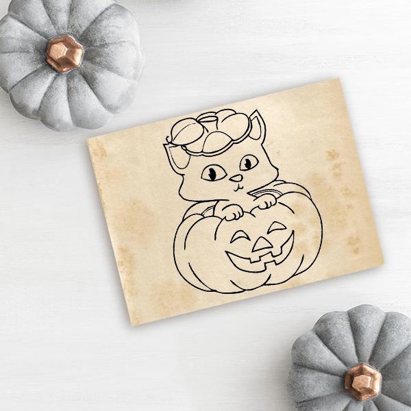 Kitten Pumpkin Halloween Rubber Stamp Imprint Example