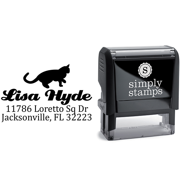Pouncing Cat Return Address Stamp Body and Design