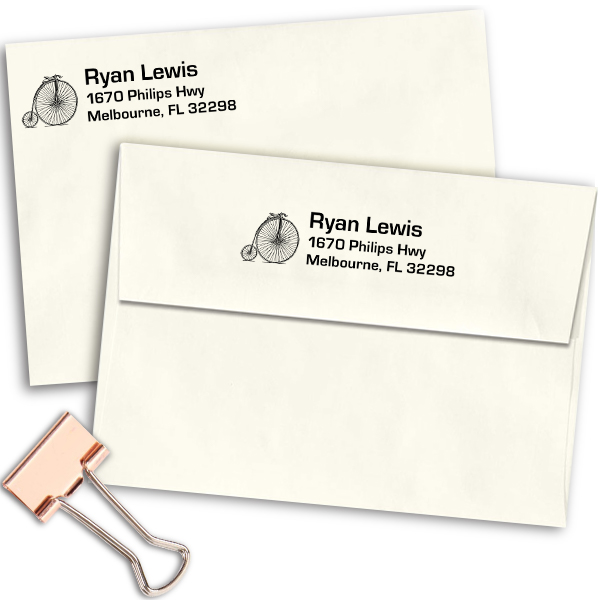 High Wheel Bicycle Return Address Stamp Imprint Example