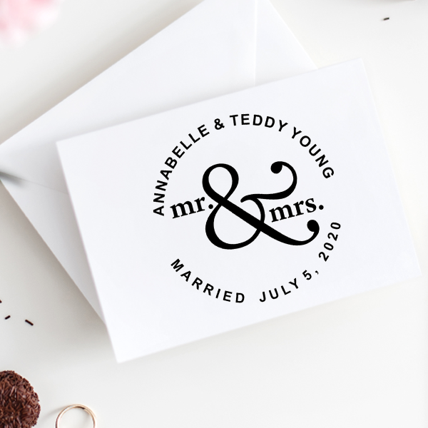 Mr & Mrs Save The Date Rubber Stamp Imprint Example