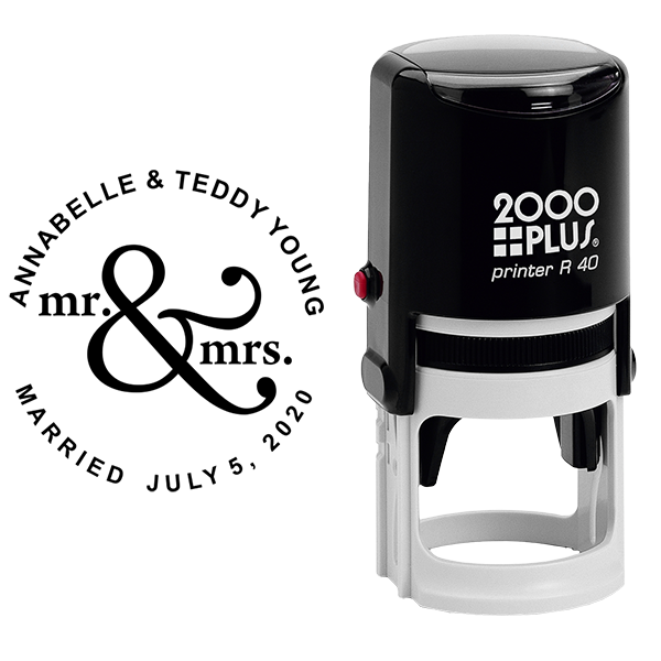 Mr & Mrs Save The Date Rubber Stamp Body and Design
