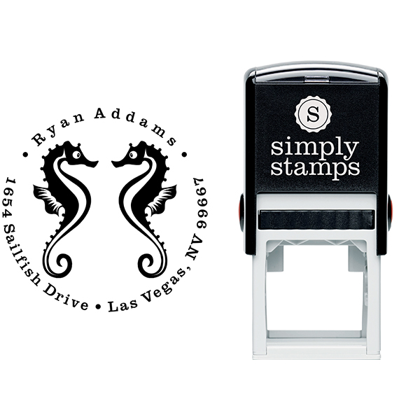 Round Twin Seahorse Silhouette Custom Address Stamp Body and Design
