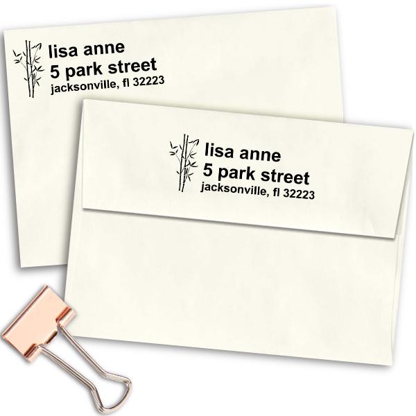 Bamboo Themed Custom Address Stamp Imprint Example