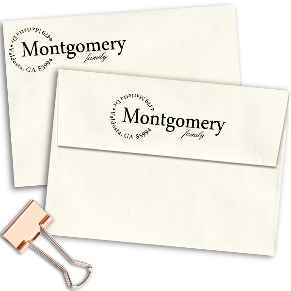 Semi Circle Family Custom Address Stamp Imprint Example