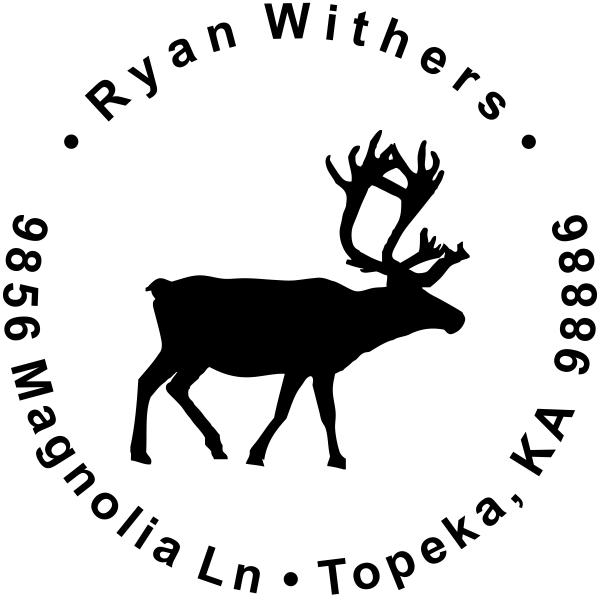Custom Holiday Reindeer address rubber stamp