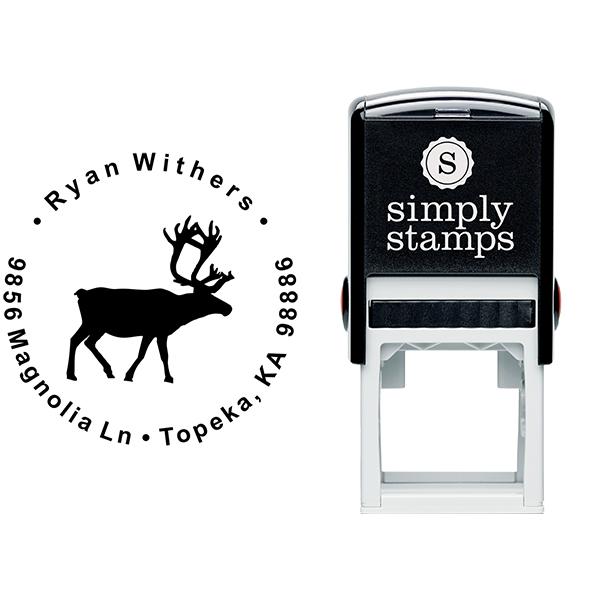 Holiday Reindeer Custom Return Address Stamp Body and Design