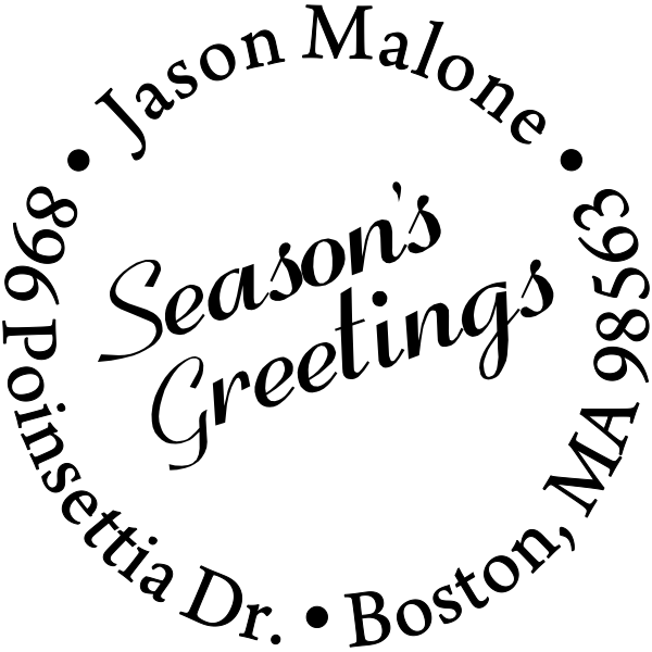 Seasons Greetings Holiday address rubber stamp