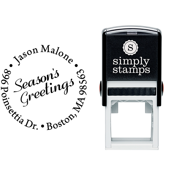 Season's Greetings Holiday Return Address Stamp Body and Design