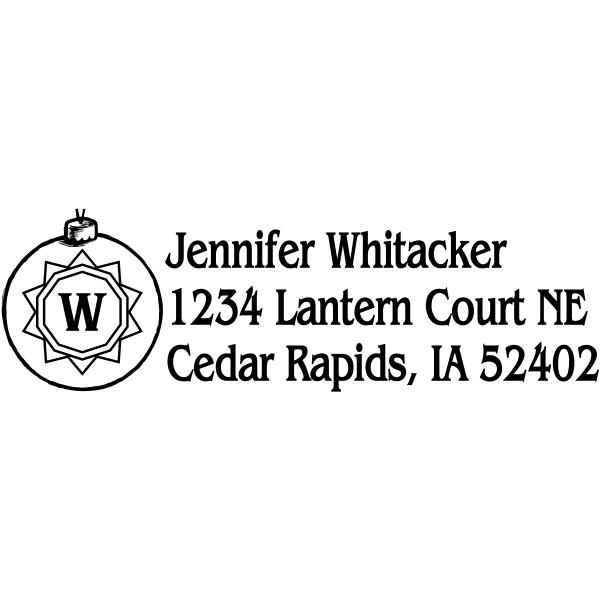 Custom Holiday Monogram Ornaments address rubber stamp