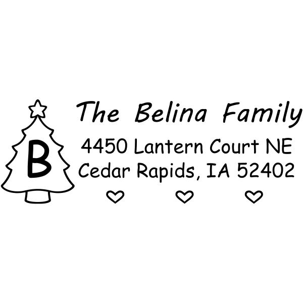 Custom Holiday Tree Monogram address stamp design