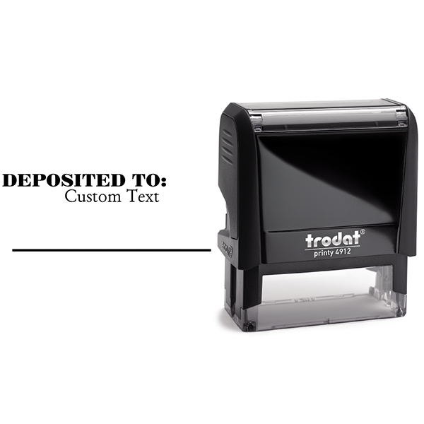 Custom DEPOSITED TO Date Space Mobile Check Deposit Rubber Stamp Body and Design