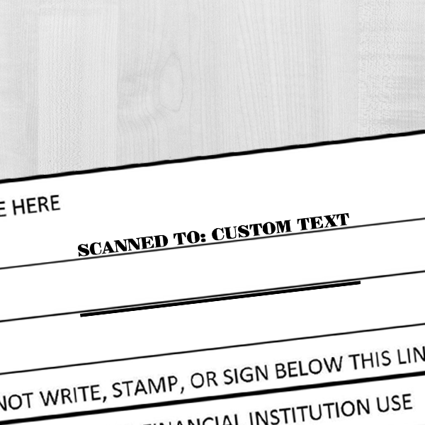 Custom SCANNED TO Paypal Date Space Mobile Deposit Rubber Stamp Imprint Example