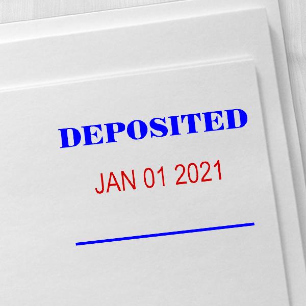 DEPOSITED Dater Mobile Deposit Rubber Stamp Imprint Example