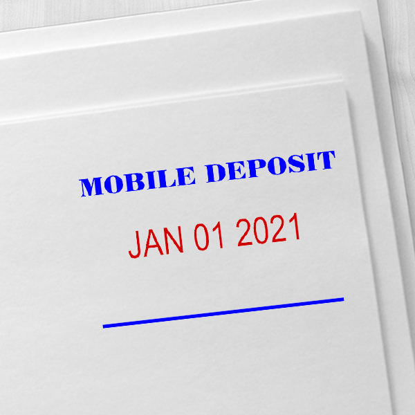 MOBILE DEPOSIT Dater Mobile Check Deposit Rubber Stamp Imprint Example