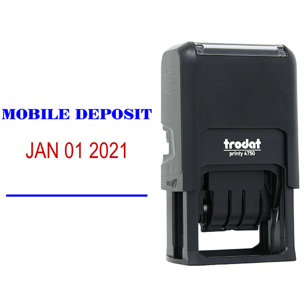 MOBILE DEPOSIT Dater Mobile Check Deposit Rubber Stamp Body and Design