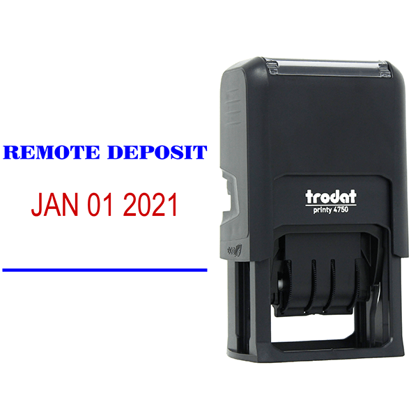 REMOTE DEPOSIT Dater Mobile Check Deposit Rubber Stamp Body and Design