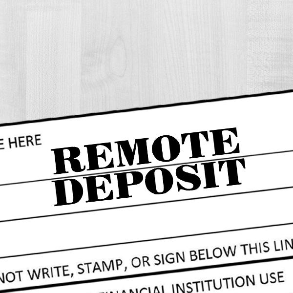 REMOTE DEPOSIT Mobile Check Deposit Rubber Stamp Imprint Example