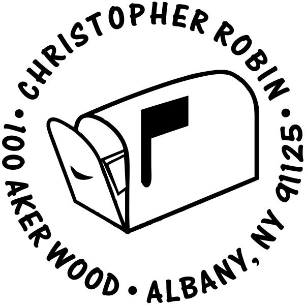Flag Up Mailbox Return Address Stamp