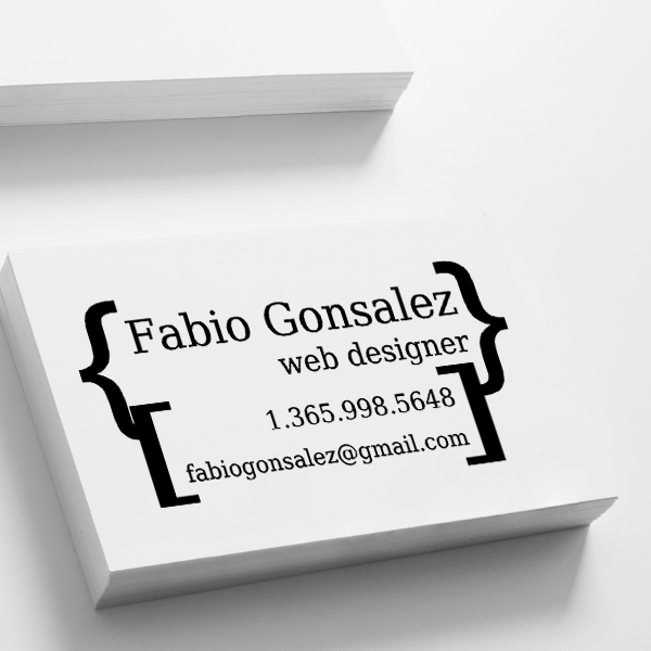 Brackets Business Card Stamp Imprint Example
